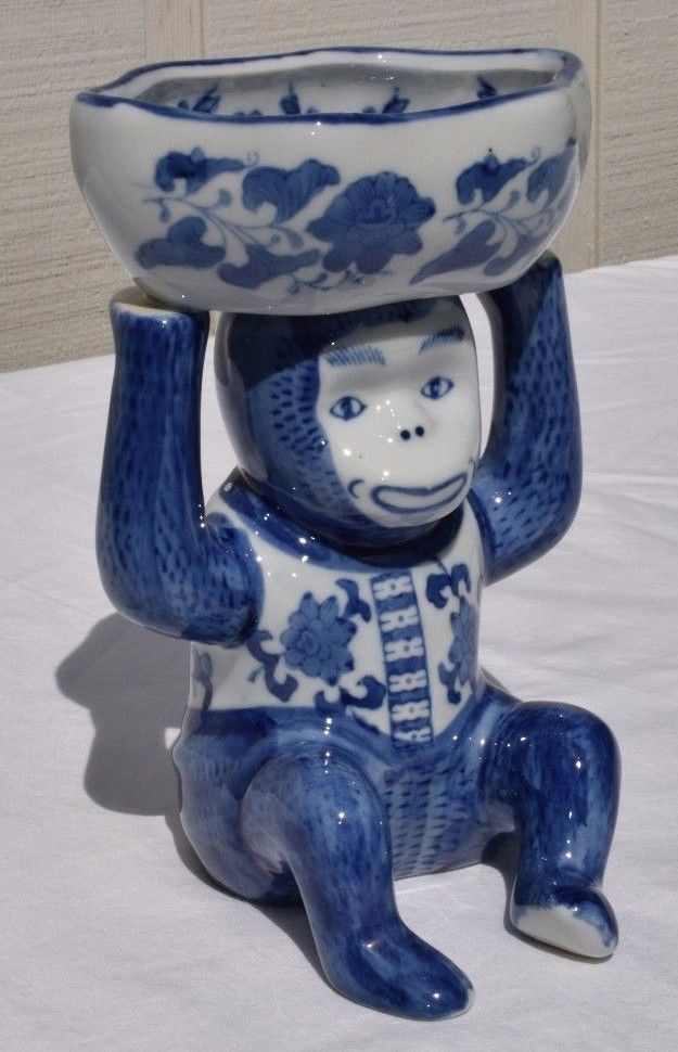 Vintage 80 S Blue Amp White Willow Porcelain Monkey Soap Dish Candy Bowl China Stuff To Buy