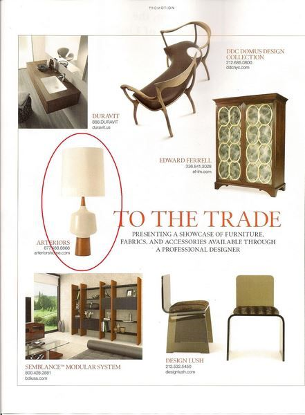 Elle Decor November pg. 170   Arteriors Calhoun Ivory Crackle Porcelain Light Walnut Wood Lamp