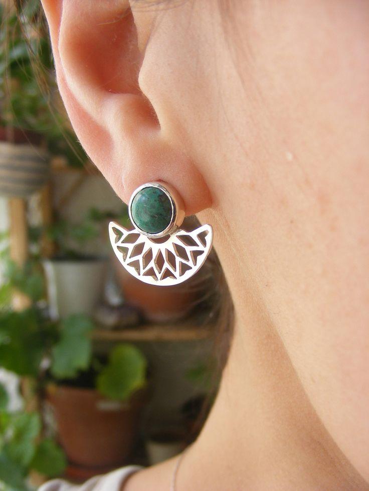 """Natural Crisocola Stone Silver handmade """"Inti"""" (sun) Earrings de AfaJewelry en Etsy"""