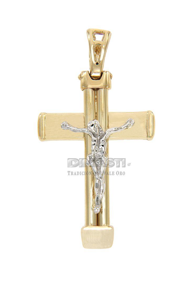 SKU CRSOR0012 CRUZ  MEDIANA COMBINADA  CRUZ AMARILLA Y  CRISTO BLANCO ventas@dinasti.com #ReligiousCharm #fashion #jewelry #Cristosdeoro #cristos #cruces #articulosreligiosos #dijesreligiosos