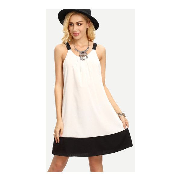 SheIn(sheinside) White Patchwork Black Sleeveless Shift Dress (£12) ❤ liked on Polyvore featuring dresses, black and white, black and white short dresses, white dress, long-sleeve shift dresses, white sleeve dress and sleeveless shift dress
