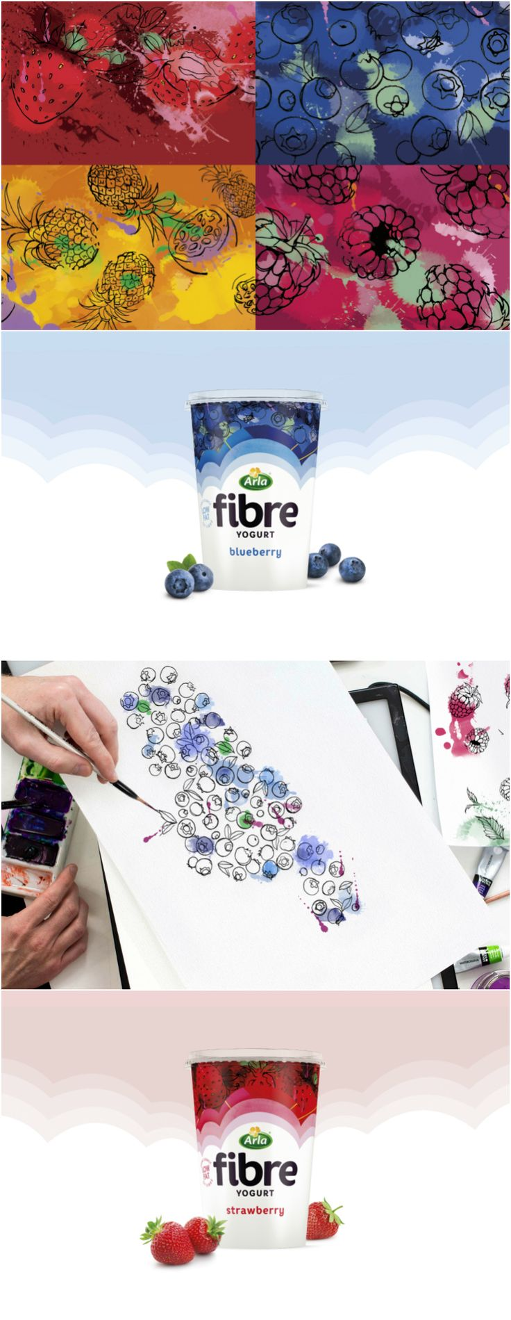 Abstract Fruit Illustrations and Patterns Used for Fibre Yogurts to be Launched in the UK by Arla Design Agency:Springetts Brand Design Brand / Project Name:Arla Fibre Location:United Kingdom Category: #dairy #yogurt   World Brand & Packaging Design Society