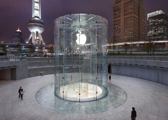 Utilización de vidrio en las fachadas de Apple.