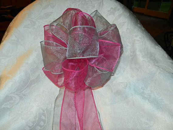 Hot Pink and Gray Wedding/ Pew Bows set of 10 by creativelycarole, $90.00