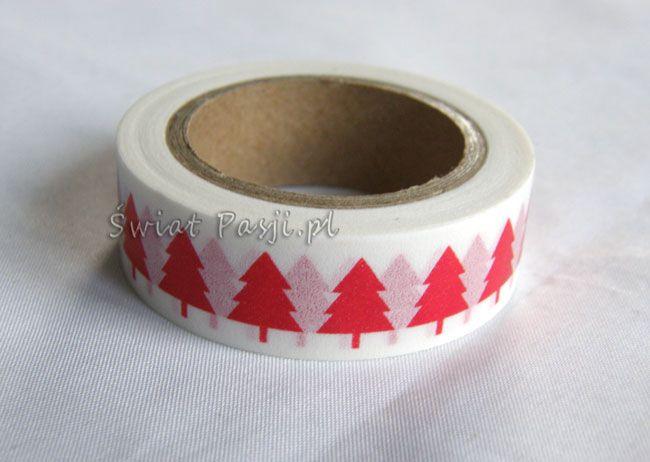 papierowa taśma dekoracyjna - w czerwone choinki