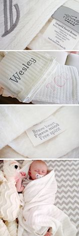 Forever Blanket {baby} by Swell Forever: Uniquely personalized message tags on each handmade baby blanket. Heirloom quality American made fabrics with French satin trim. Made in USA. Benefiting adoptive families. Monogram your blanket. Custom message. Baby showers, Christening, blessing, baptism, new baby, infant loss, baby loss gifts. First birthday present. Chenille fabric.