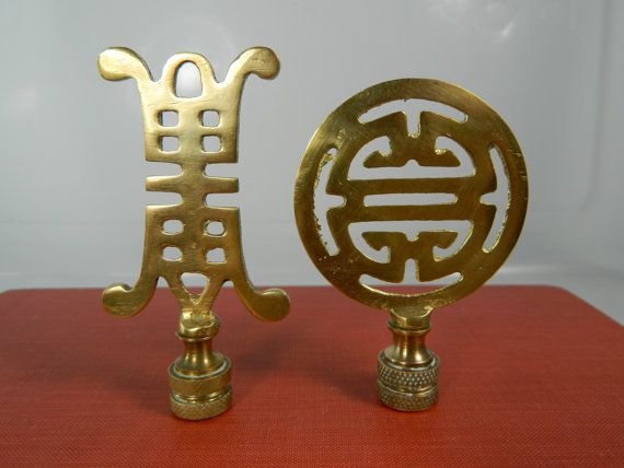 Vintage Brass Finials Asian Lamp Finials Set/2 by 3sisterssmalls