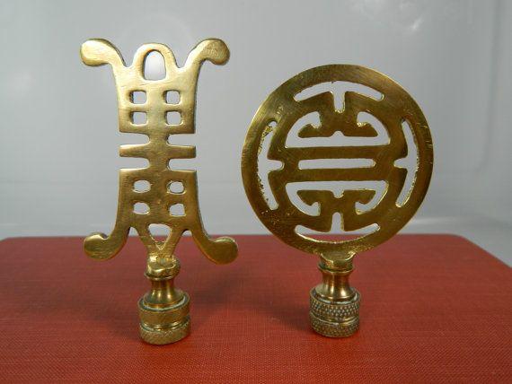 Vintage Brass Finials Asian Lamp Finials Set/2 by 3sisterssmalls
