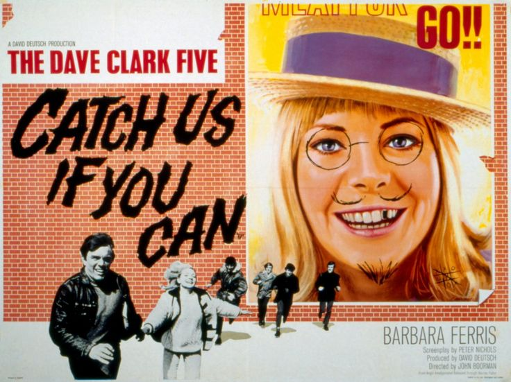 Catch Us if You Can (1965) - John Boorman was given a chance to direct, as a showcase for the Dave Clark Five, his first feature. The film reveals a sense of fantasy, humour and visual invention while anticipating future work. Two young people flee the synthetic glitter of the publicity world in search of an 'elsewhere' that finally proves inaccessible. During this quest, the director plays with illusion and reality, from a fancy dress ball to the shoot of a TV commercial.