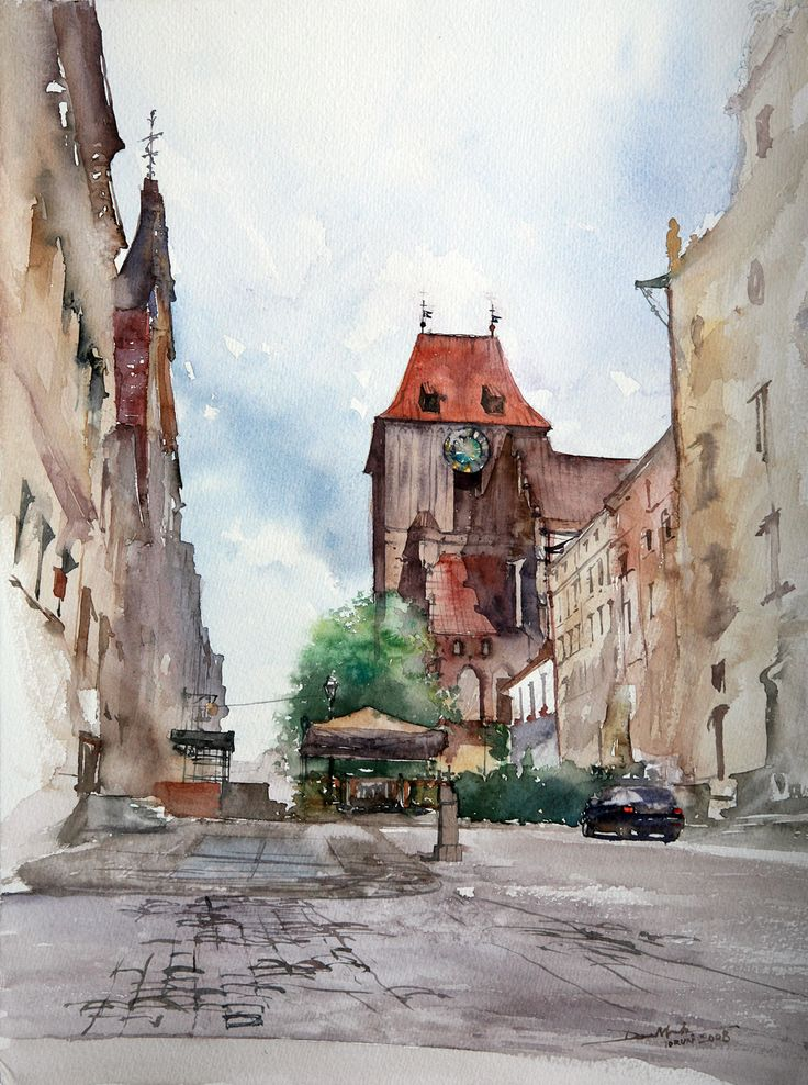 Zeglarska Street, 48x36cm, 2008 www.minhdam.com #architecture #watercolor #watercolour #art #artist #painting #torun #poland