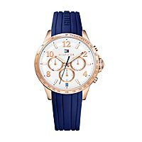 Tommy Hilfiger women's watch. Sophistication and sport in one beautiful timepiece. Featuring a white face with etched tachymeter, stick indicies, modern Arabic numerals and three subdials in an eye-catching rosegold palette. • Rosegold-plated stainless steel.• 44 mm case, multi-eye movement.• Water resistant up to 50 meters.• 10-yr limited warranty.• Imported.