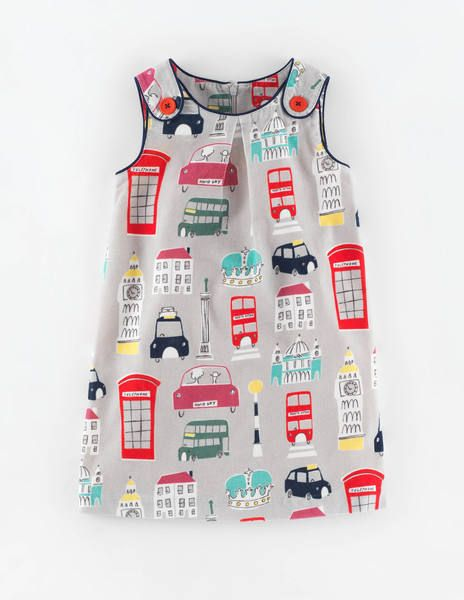 Button Pinafore Dress 33386 Day Dresses at Boden