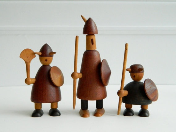Scandinavian wooden vikings designed by Jacob Jensen ca. 1958, made of teak, birch, maple and ebony.