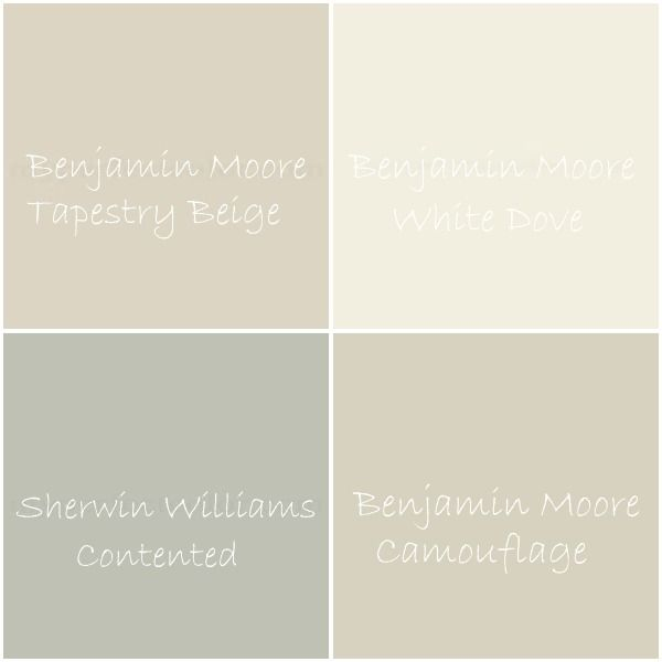 BM Tapestry Beige – great room {family room & kitchen}, hallway to bedrooms, master bedroom, master bathroom  BM White Dove – trim, ceilings {including the great room}, interior doors  SW Contented – boys' bedroom  BM Camouflage – mudroom/dining room, laundry nook, nursery