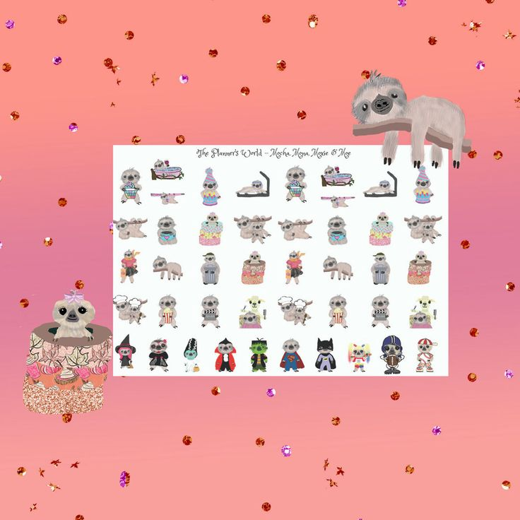 Sloth stickers sampler sticker sheet kawaii sloth cute sloths sampler sheet sloth planner stickers by theplannersworld on etsy