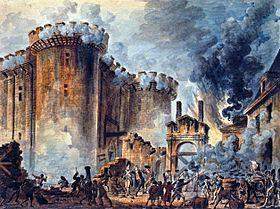 La Prise de la Bastille, par Jean-Pierre Houël (1789)- Le gouverneur de la Bastille, le marquis de Launay, accepte de parlementer, mais dans des conditions mal connues, on tire sur la foule qui attaque aussitôt la forteresse. Après un combat de quelques heures qui fait une centaine de victimes, Launay capitule: il est décapité et sa tête est promenée au bout d'une pique à travers les rues de Paris, les 7 prisonniers de la Bastille sont libérés.