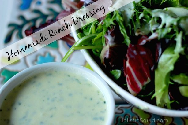 Easy Homemade Ranch Dressing - Holistic Squid:Easy Homemade Ranch Dressing 1 cup homemade mayonnaise (recipe below) 1 1/2 cups Greek yogurt (learn to make easy raw yogurt here) 1 lemon, juiced 1 cup chopped fresh* herbs (I prefer a combination of parsley, dill, chives, and tarragon) 1 tsp. onion powder 1 tsp. garlic powder 1 tsp. sea salt, plus more to taste – my favorite sea salt 1/2 tsp. freshly ground pepper, plus more to taste
