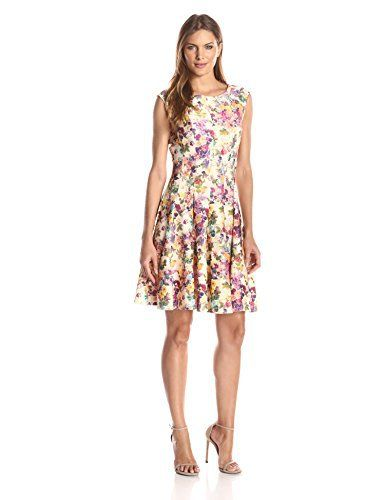 New Trending Formal Dresses: Julian Taylor Womens Floral Printed Fit-and-Flare Dress, Yellow/Multi, 16. Julian Taylor Women's Floral Printed Fit-and-Flare Dress, Yellow/Multi, 16  Special Offer: $49.00  200 Reviews Cap sleeved all over floral printed, fit and flare knee length dress.Floral fit-and-flare dress with vertical-seam construction featuring pleated skirt and subtle cap...