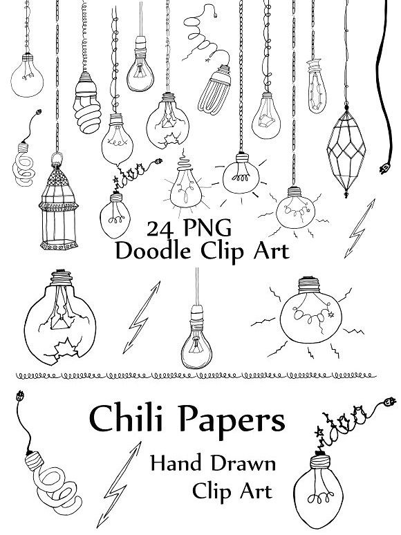 Light Bulb doodle clipart. Wedding Card Templates. $5.00