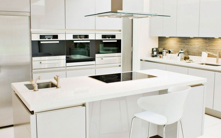 [Kitchen] : Endearing Minimalist Kitchen Inspiration White Lacquer Kitchen Cabinets Long With A Single Electric Refrigerator Plus A White Dining Chairs Also With White Kitchen Cabinets