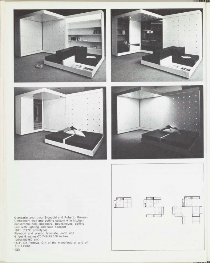 Giancarlo and Luigi Bicocchi and Roberto Monsani Component wall and celling system with kitchen, convirtible bed, cupboar bookshelves, celling unit with lighting and loud speaker 1971