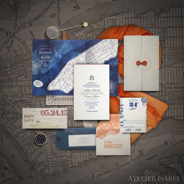 custom wedding invitations new york city%0A Custom invitation suite for an Ellis Island wedding in New York City by  Atelier Isabey