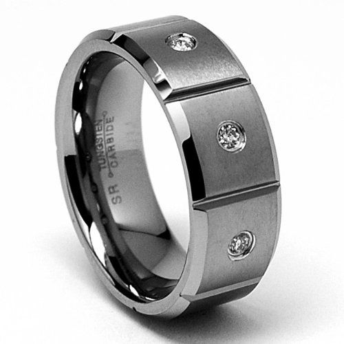 8MM Grooved Tungsten Carbide DIAMOND Ring Wedding Band 3 Stones Sizes 8 to 12  $wedding invitations design$  http://j.mp/RlDlZ7