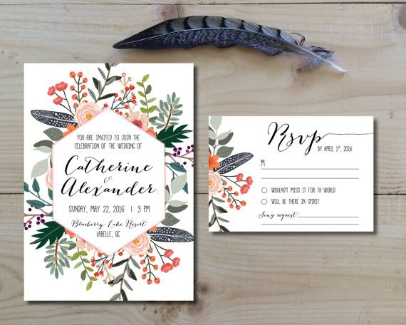 Printable Wedding Invitation Set | Invitation + RSVP  | Flowers, feathers, botanical | Boho rustic wedding invitation | Country floral