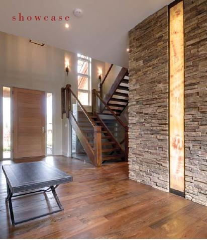 Interiors, Design, Architecture Stone wall with back lit ...