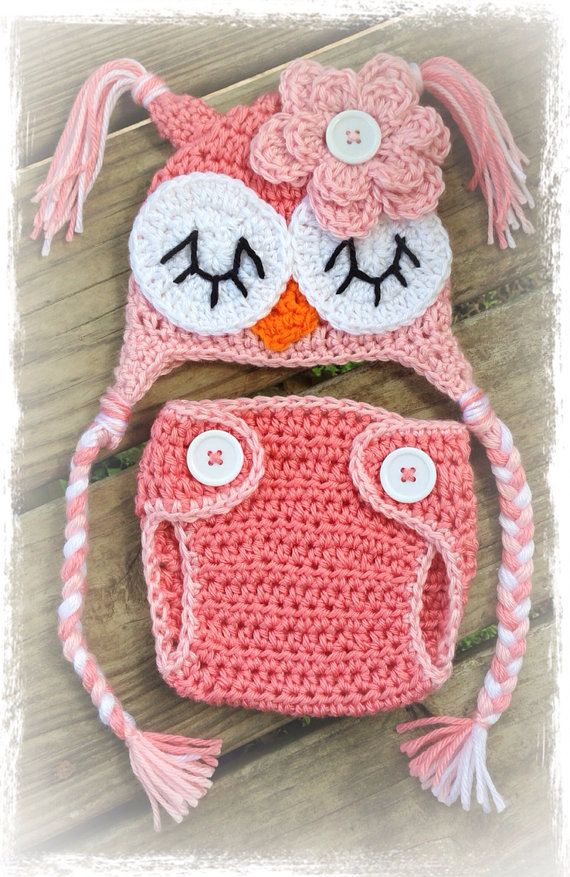 This is an adorable handmade crochet two-tone Pink OWL Diaper Cover & Beanie Hat Set. So wonderfully cute for that special little baby girls first