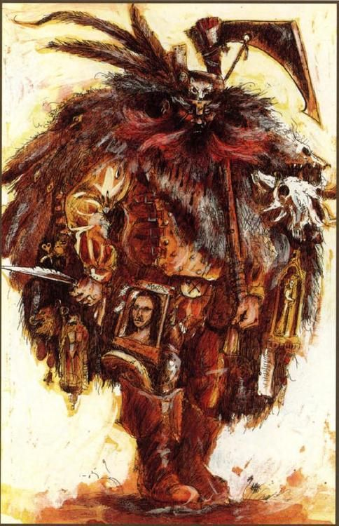 The recurring Mona Lisa motif in John Blanche's work always amuses me.