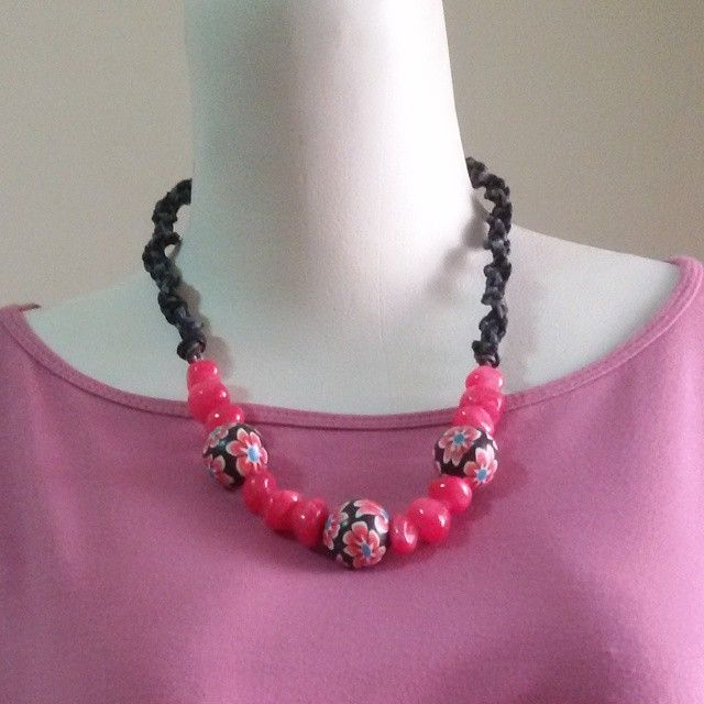 Finalize version. #necklace #kalung pink hemp