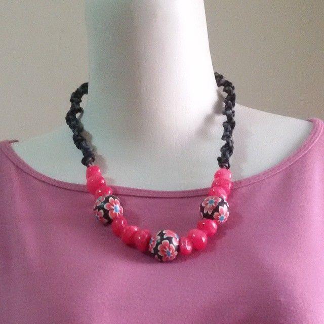 Finalize version. #necklace #kalung pink hemp