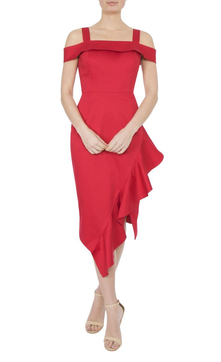 Occasion Wear   Tulip Red Cold Shoulder Dress