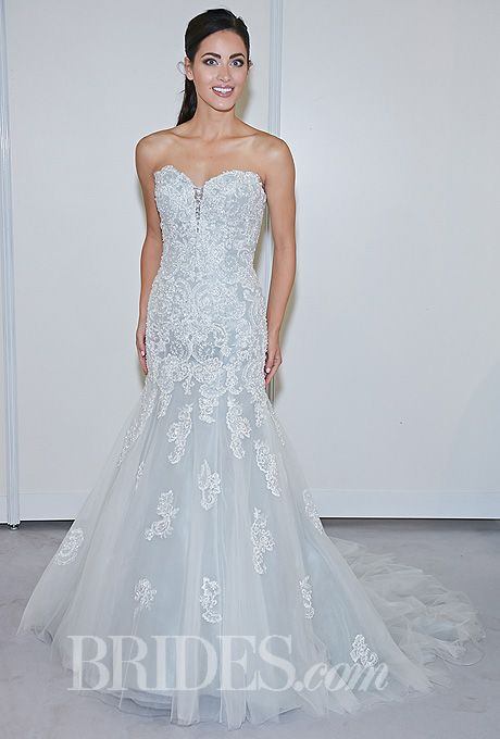 """Brides.com: 34 Colorful Wedding Dresses That Prove You Don't Have to Wear White. Style 114293, """"Beryl"""" strapless blue embroidered lace and tulle over taffeta mermaid wedding dress with a sweetheart neckline and beaded details, David Tutera for Mon Cheri  See wedding dresses from David Tutera for Mon Cheri's most recent bridal runway show."""