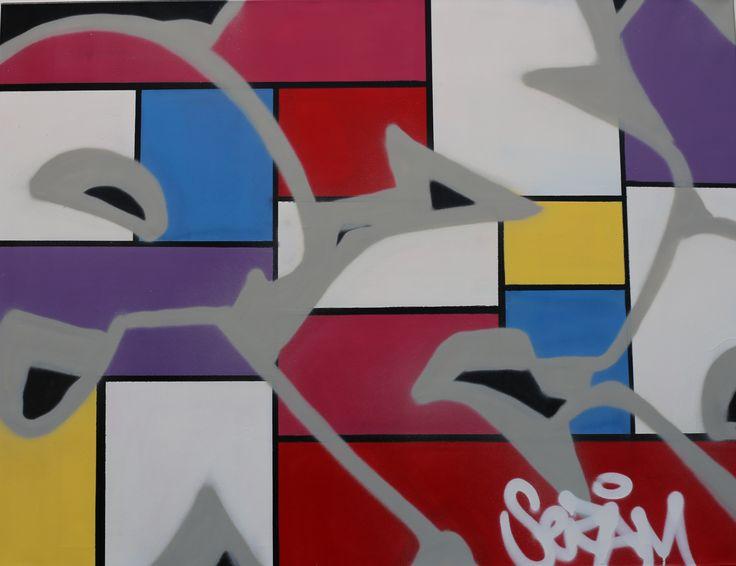 Clin d'oeil à Mondrian, cette toile sur châssis, unique réalisée par le street artiste Sezam mesure 116cm x 89cm. Street artists