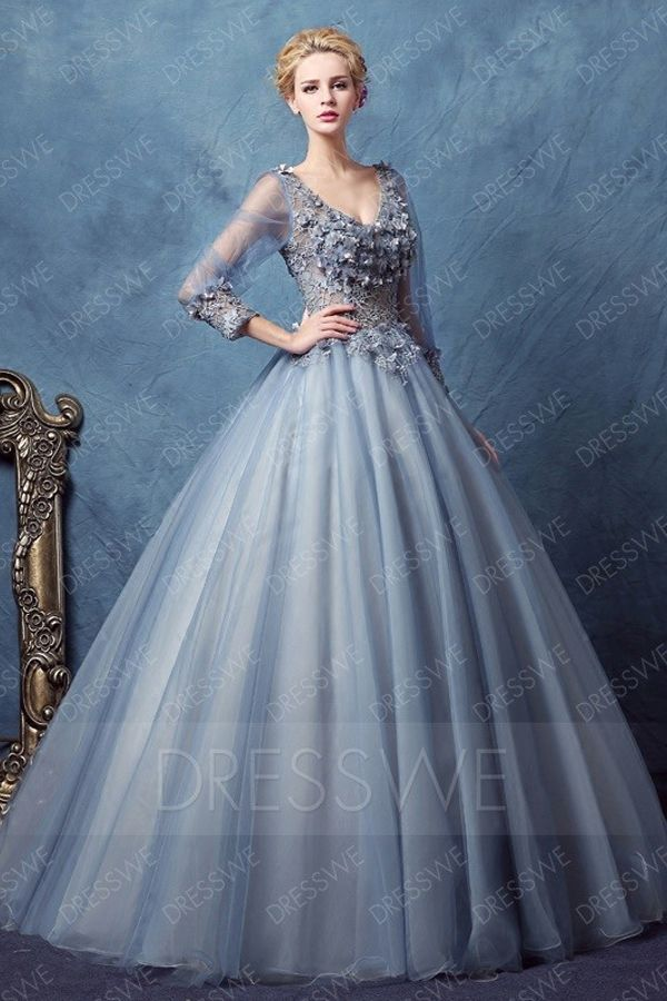 Vintage Long Sleeve Deep V Neck Applique Ball Gown Dress Ball