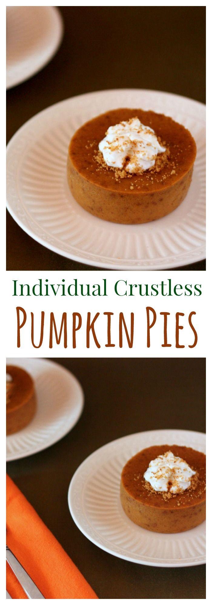 Individual Crustless Pumpkin Pies (or Pumpkin Custards) recipe. Don't wait for Thanksgiving to enjoy the best part of your favorite holiday dessert! (gluten free)