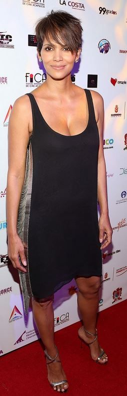 Who made  Halle Berry's black dress that she wore in Acapulco on January 29, 2013?