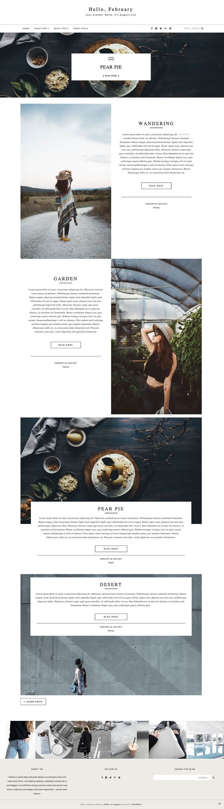 Hello, February is a clean and minimal, premium Wordpress blog theme. It includes featured post slider, 4 content layout options, 4 post layout options and sticky navigation bar. This template is made for bloggers, who like to showcase their content, especially pictures in a unique way. It is fully responsive and ready to use.