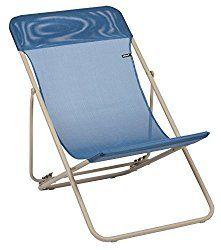 Lafuma LFM2576-7230 Maxi Transat Folding Sling Chair – Sand Frame with Curaçao Gloss Batyline Fabric