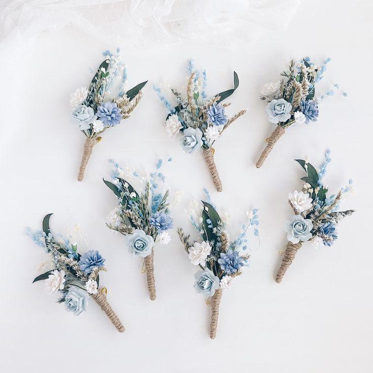 Flower boutonniere, Blue Button hole, Fiance boutonniere, Groomsman boutonniere, Rustic wedding ,  Serenity wedding