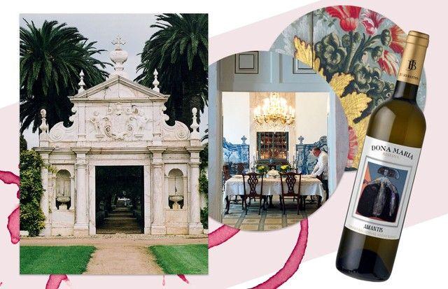 Sala de jantar decorada com azulejos do século 18. À direita, o vinho Amantis, carro-chefe da quinta e uma homenagem à amante de dom João 5o (Foto: Nyra Lang/arquivo Vogue, Divulgação, Reprodução/Instagram Juliana Santos e Augusto Mariotti)