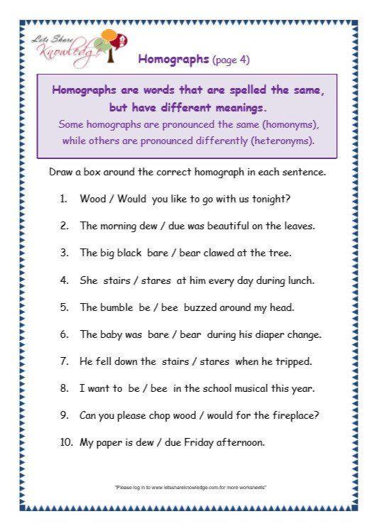 Homographs Worksheets Pdf Grade 3 Grammar Topic 25 Homographs Worksheets Lets In 2020 Homographs Worksheets For Grade 3 Homophones Worksheets