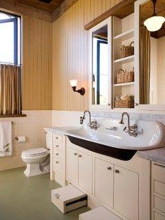 trough sink and toe kick step stool