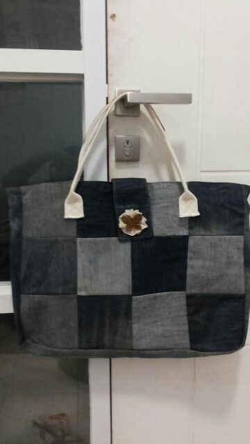 Giant bag made from old scrap jeans...love it..