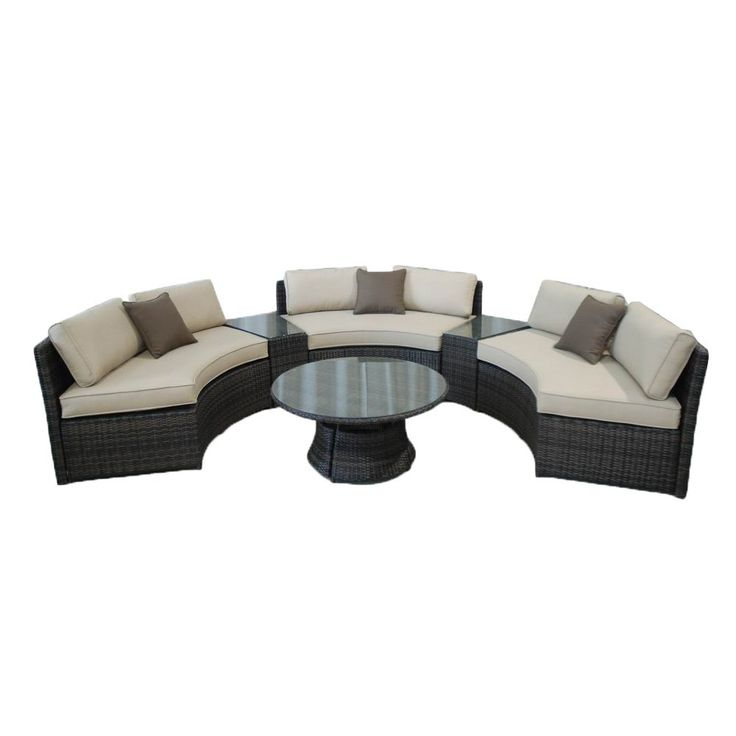 Kontiki Monte Carlo 6 Piece Conversation Group Benches With Side Tables ·  Curved BenchPatio Furniture ...