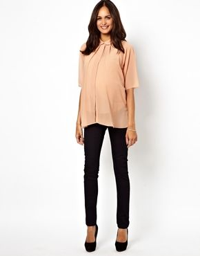 Image 4 of ASOS Maternity Blouse With Pleat Back And Raw Edge