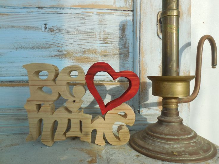 Wooden Valentine Love Red Heart Be Mine freestanding by DesertHeartsCo on Etsy