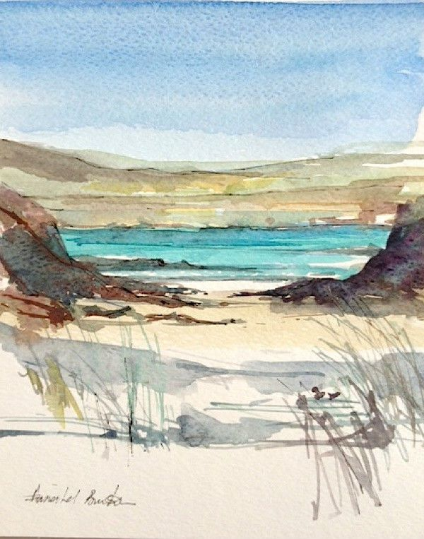 Original Water Colour Painting Litttle Beach Signed